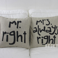1 pair linen black lover present Mr RIGHT & Mrs always right words printed fashion decorative pillow cover 18 x 18