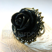 Steampunk Black Rose Bronze Ring - Romantic fashion ring made with oversized flower on an adjustable Ring