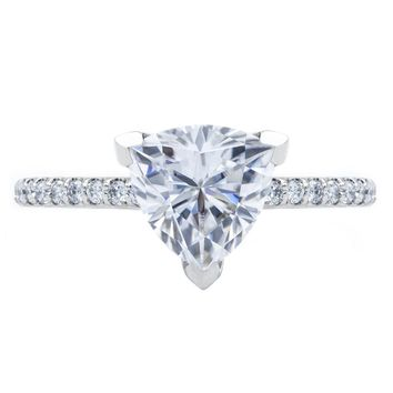 Trillion Moissanite 3 Prongs Diamond Accent Ice Cathedral Solitaire Ring