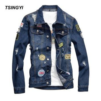 Tsingyi Vintage Destroy Wash Hole and DIY Badge Denim Jacket Men Slim Fit Turn-down Collar Long Sleeve Denim Bomber Mens Coats