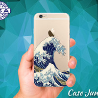 Japanese Wave Art Tidal Wave Ocean Japan Water Cool Accessory Clear Transparent Rubber Case For iPhone 5, iPhone 5C, iPhone 6, iPhone 6 Plus