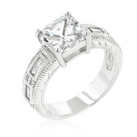 Clear Cubic Zirconia 5-stone Ring, size : 10