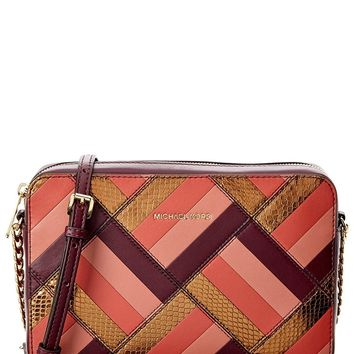 Michael Kors Womens Marquetry Leather Patchwork Crossbody Handbag Purple Small