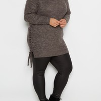 Plus Charcoal Lace-Up Tunic Sweater | Plus Sweaters | rue21