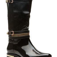 Black Faux Patent Buckle Accent Calf Length Rain Boots