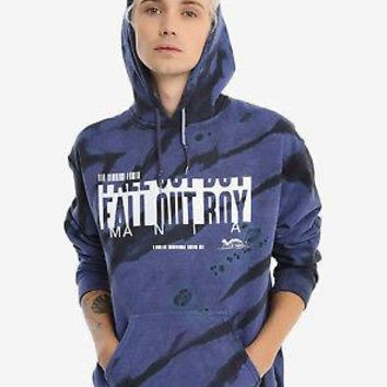 Licensed cool Fall Out Boy Mania Bar Logo Tie Dye Hoodie Hoody Sweatshirt Blue Black Mens S