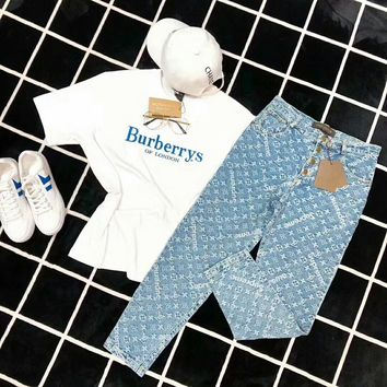 """Burberry"" ""Louis Vutitton"" Women Casual Fashion Letter Embroidery Short Sleeve T-shirt Jeans Trousers Set Two-Piece"