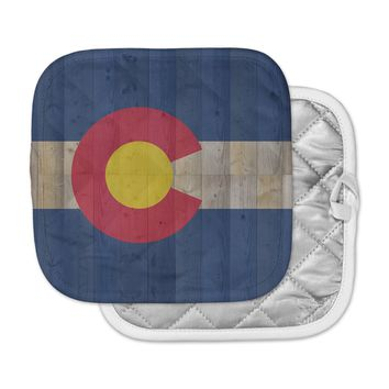 "Bruce Stanfield ""Flag of Colorado"" Blue Red Pot Holder"