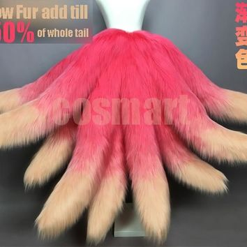 Game LOL Cosplay Costumes Sexy Fox lol Ahri Nine Tailed Pink Yellow Gradient Color Transform-model Tail Cosplay EMS shipping