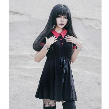 Gothic Dress Red Peter Pan Collar Chic Skull Button A-Line Casual Cotton Women Dresses Doom Dress