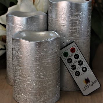 Rustic Silver Set With Warm White Flame Flameless Wax Candles Remote and Timer