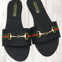 GUCCI Fashion New Stripe More Letter Slippers Flip Flop Shoes Women Black