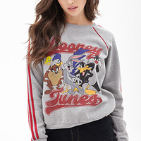 FOREVER 21 Looney Tunes Pullover Sweatshirt Heather Grey/Red