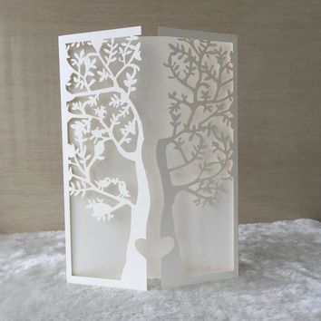 12pcs/lot Promotional European Laser Cut door design 2015 formal tree and bird pattern  wedding invitation card QJ-178,