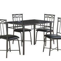 Dining Set - 5Pcs Set / Grey Marble / Charcoal Metal