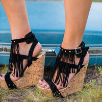 Mystique Fringe Cork Wedges (Black)