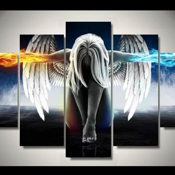 5 Pieces/set Angeles Girls Anime Demons Painting Children's Room Decoration Print Picture Canvas Wall Art for Living Room