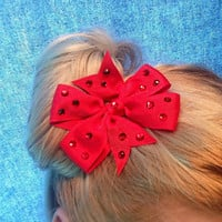 Pair of Crystal Red Hair Bows