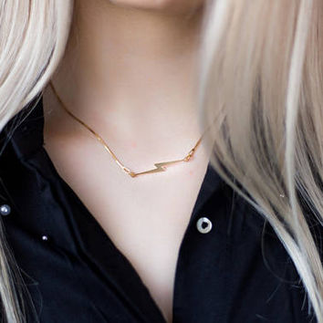 Gold Lightning Bolt Necklace | 24k Gold Plated Minimalist Necklace | Lightning Necklace | Bolt Necklace |