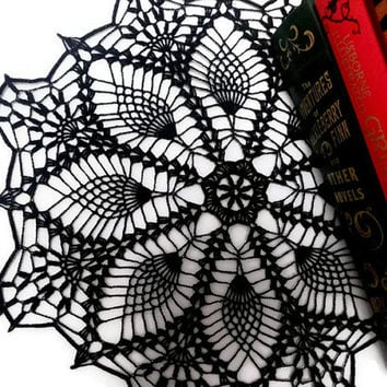 "Black doily, crochet lace doily, gothic table topper, unusual centerpiece, 12"" Halloween decor"