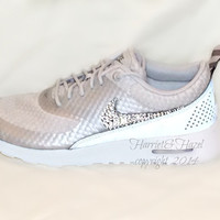 Women's Nike Air Max Thea Premium w/Swarovski Crystals details in Light Base Grey/Cool Grey/Metallic