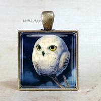 Midnight owl glass tile necklace, white owl, Halloween eerie, owl keychain, woodland necklace, dark blue pendant, unisex gift