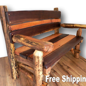 Reclaimed Wood Bench, Reclaimed wood furniture, Rustic Wood Bench, Rustic Furniture, Log Furniture, Rustic Seating, Porch chair