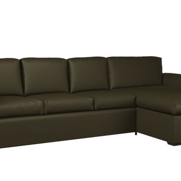Eclipse Leather Chaise Sectional 3-Cushion Queen Sofa Sleeper