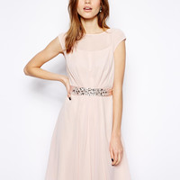 Pink Sleeveless A-Line Chiffon Dress