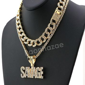 Hip Hop Iced Out Quavo SAVAGE Miami Cuban Choker Chain Tennis Necklace L39