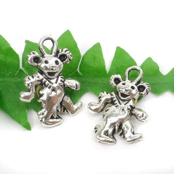 8 Grateful Dead Bear Charms, Dancing Bear Hippie Charms 21mm x 15mm C78