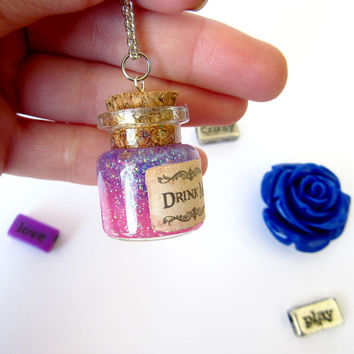 "Disney's Alice in Wonderland ""Drink Me"" mini bottle pendant necklace/ VIAL necklace with Purple glitter/ galaxy/ cosmos/ unicorn/ magic"