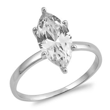Sterling Silver Marquise Solitare 6 Prong Cubic Zirconia Engagement Ring
