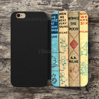winnie the pooh old book Wallet Case For iPhone 6S Plus 5S SE 5C 4S case, Samsung Galaxy S3 S4 S5 S6 Edge S7 Edge Note 3 4 5 Cases