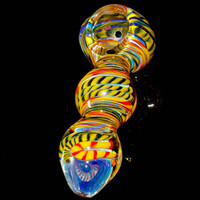 Screaming Yellow Black & Red Heavy Large Glass Spoon Bowl - Color Changing Triple Bubble Design Pipe
