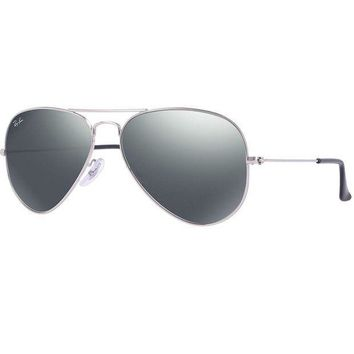 PEAPGE2 Beauty Ticks Ray-ban Silver/silver Mirror Aviator Large Sunglasses