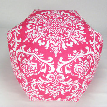"24"" Floor Ottoman Pouf Pillow Candy Pink & White - Damask Contemporary Modern Print"