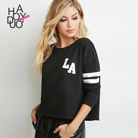 Haoduoyi Womens Long sleeve Striped Letter print Tops Black Baseball style Loose T-shirts