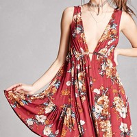 Floral V-Cut Mini Dress