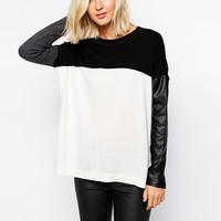 River Island Jumper With Contrast Leather Look Sleeve