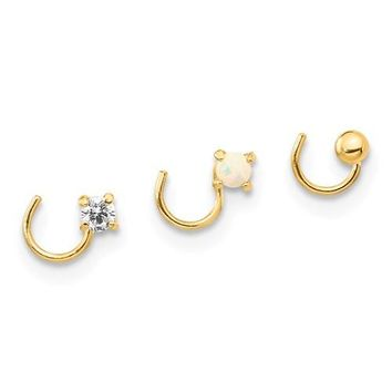 14k Yellow Gold Solid Round CZ,  Opal And Ball Nose Ring Post Set