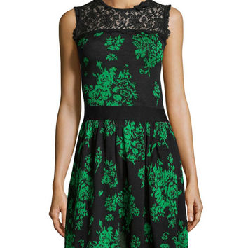 RED Valentino Floral Jacquard Lace-Yoke Dress, Green/Black