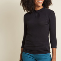 3/4 Sleeve Top with Knot Neckline in Black