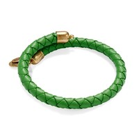 Palm Green Braided Leather Wrap