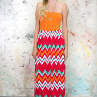 Vibrant Chevron Maxi Dress