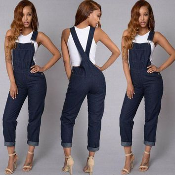 ESB1ON Fashion Women Ladies Baggy Denim Jeans Bib Full Length Pinafore Dungaree Overall Solid Loose Causal Jumpsuit Pants Summer Hot