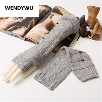 WENDYWU Winter wool arm warmers female Fashion mitt Warm Fingerless knitted sleeve