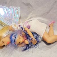 OOAK Fairy Art Doll Sleeping Mother and Child Polymer Clay Lifelike Woodland Fairies Princess Figurine Fantasy Poppet Faery Faerie Sculpture