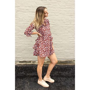 Josie Floral Dress - rust