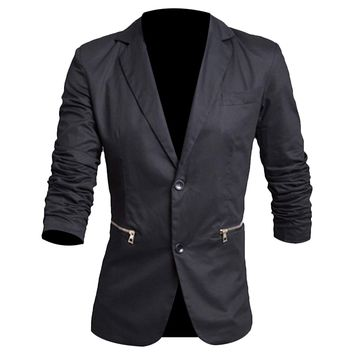 Partiss Men's Slim Hemp Blazer with Two Buttons